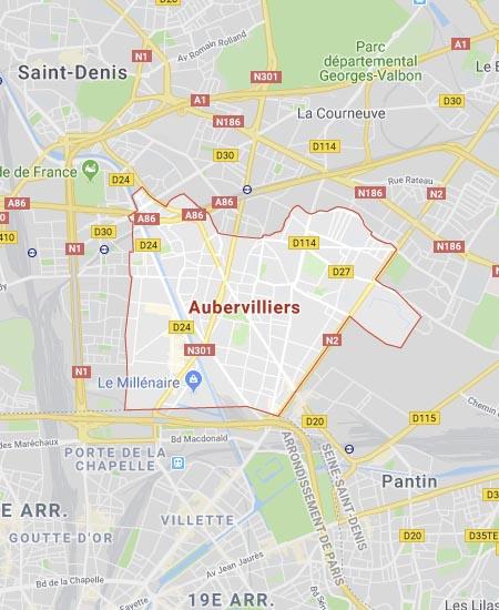 Carte d'Aubervilliers